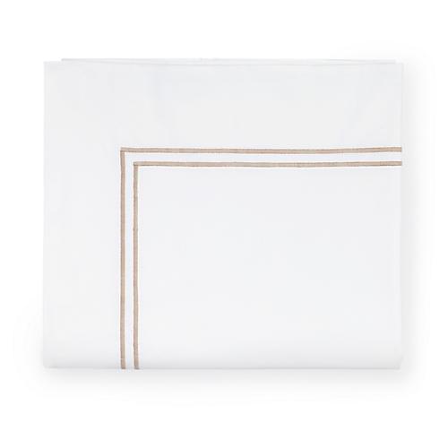 Grande Hotel Flat Sheet, White/Taupe