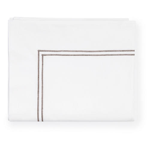 Grande Hotel Flat Sheet, White/Gray