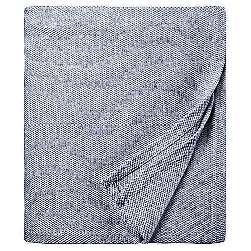Terzo Bed End Cotton Throw, Navy