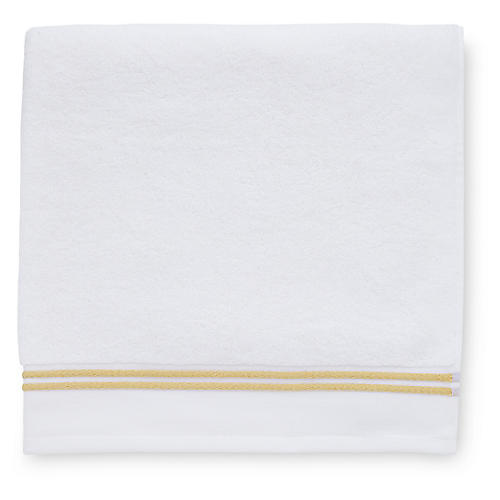 Aura Bath Towel, White/Corn