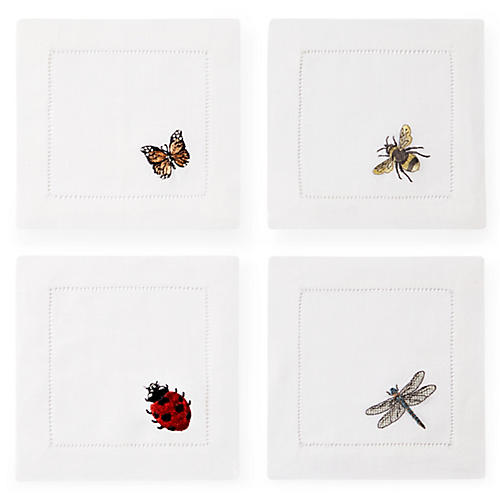 S/4 Insetti Cocktail Napkins, White/Multi