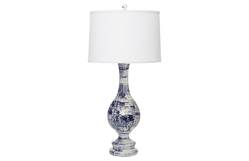 Trousdale table lamp, Navy Brushstrokes/Off-White