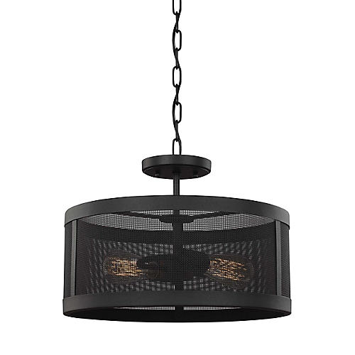 Gereon 2-Light Outdoor Pendant, Black