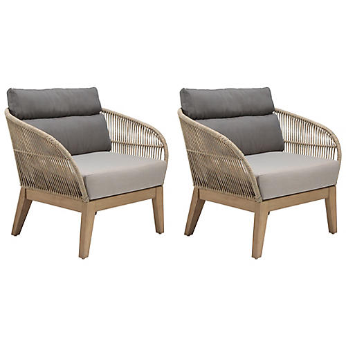 S/2 Fuego Lounge Chairs, Natural/Tan