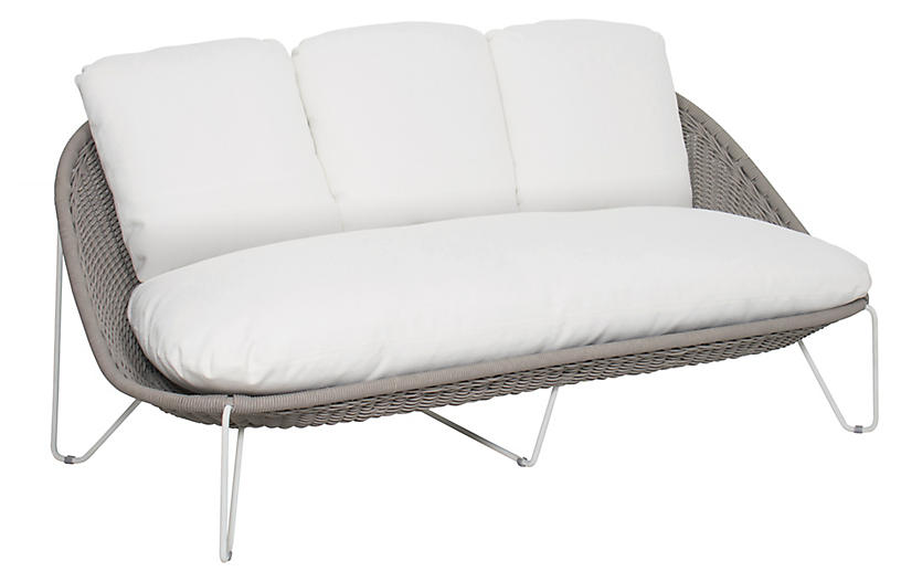 Aegean Sofa, White/Taupe