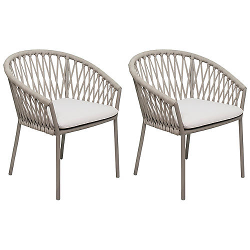S/2 Maldive Dining Chairs, Brown/Taupe