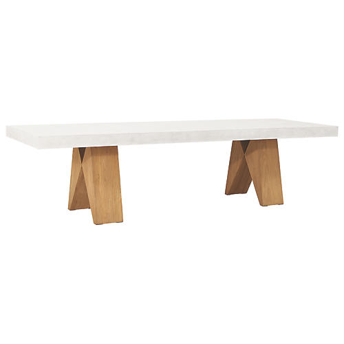 Clip Outdoor Concrete Dining Table, White