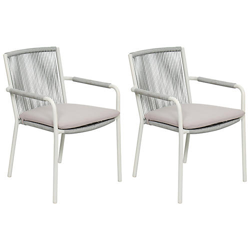 S/2 Stockholm Outdoor Armchairs, White/Taupe