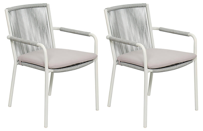 S/2 Stockholm Armchairs, White/Taupe