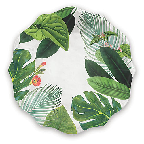 S/6 Amazon Floral Melamine Dinner Plates, Green