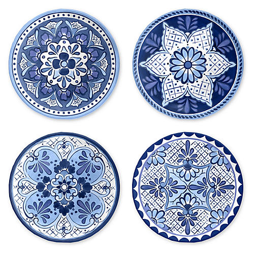 S/4 Cypress Salad Plates, Blue/White