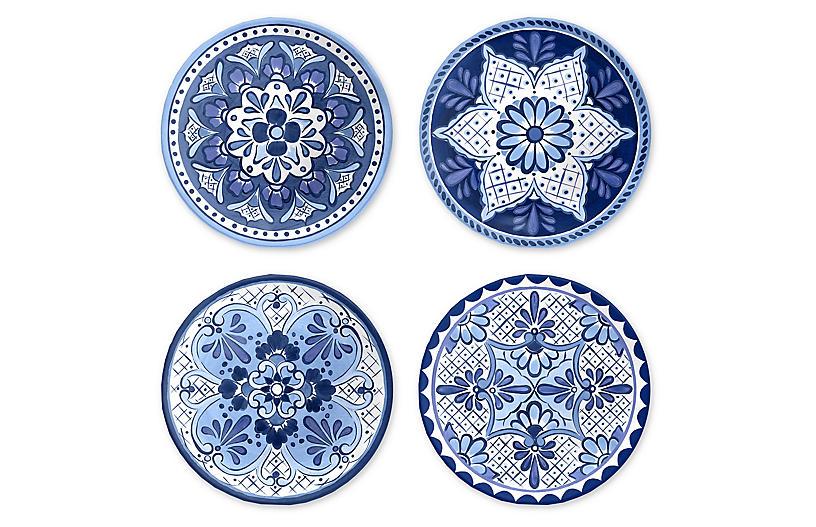 S/4 Cypress Salad Plates, Blue/White