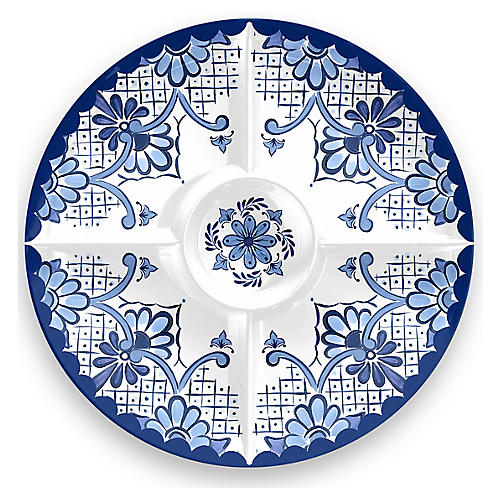 Everson Chip & Dip Platter, Blue