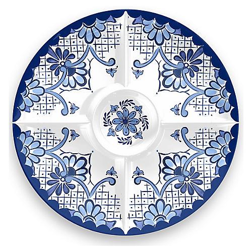 Everson Chip & Dip Platter, Blue