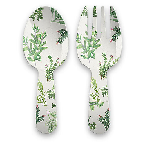 S/2 Garden Herbs Melamine Serving Set, Green