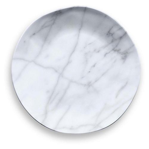 S/6 Marbled Melamine Salad Plates, White