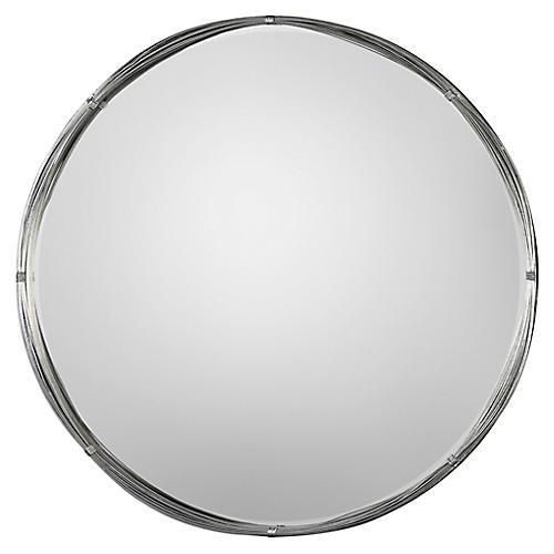 Ohmer Wall Mirror, Antiqued Silver Leaf