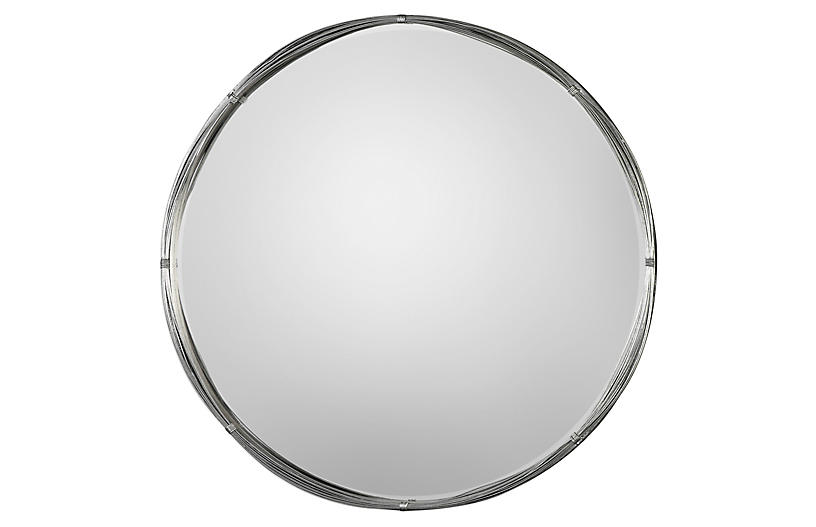Ohmer Wall Mirror, Antiqued Silver Leaf