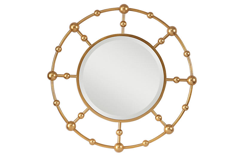 Selim Wall Mirror, Gold Leaf