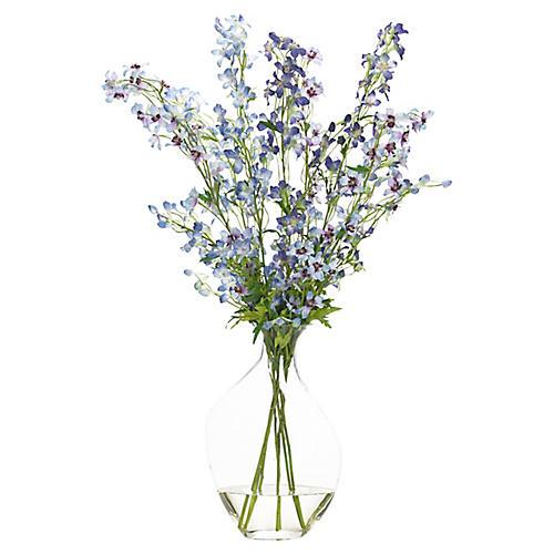 """28"""" Delphinium in Bubble Vase, Faux"""