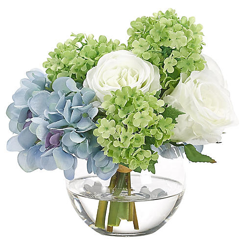 "7"" Hydrangea & Rose in Bubble Vase, Faux"