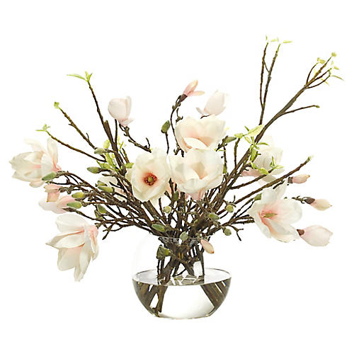"24"" Japanese Magnolia in Bubble Vase, Faux"