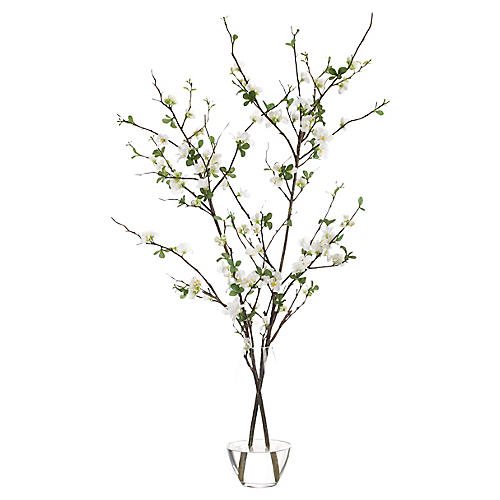 "29"" Quince Blossom in Teardrop Vase, Faux"