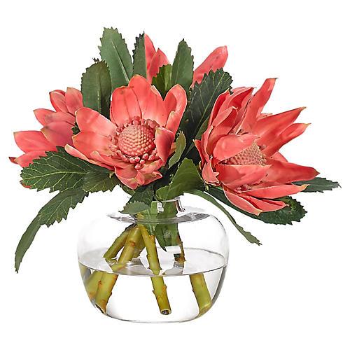"""12"""" Protea in Bubble Vase, Faux"""