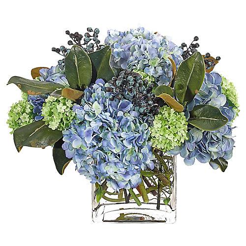 "17"" Hydrangea Snowball in Cube Vase, Faux"