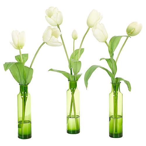S/3 Tulips in Bottles, Faux
