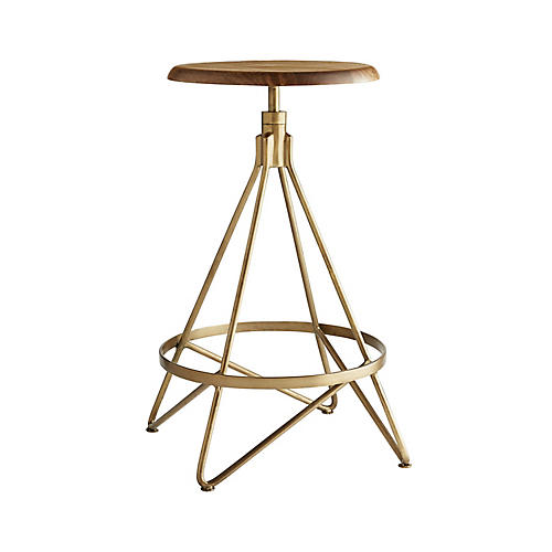Wyndham Counter Stool, Antiqued Brass
