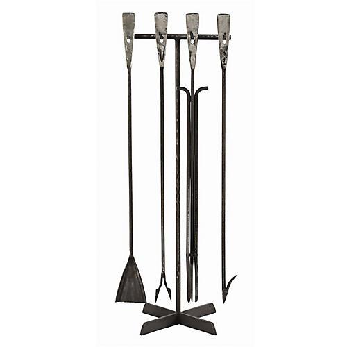 "40"" Henry Fireplace Tool Set, Waxed Black"