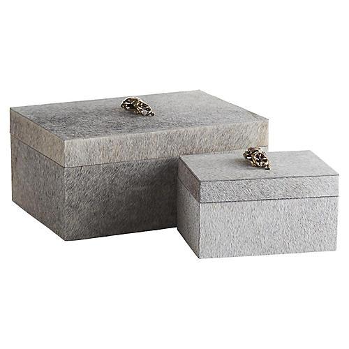 Asst. of 2 Lola Rectangular Boxes, Gray/Brass