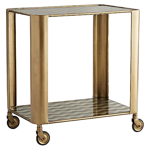 Tinsley Bar Cart, Antiqued Brass