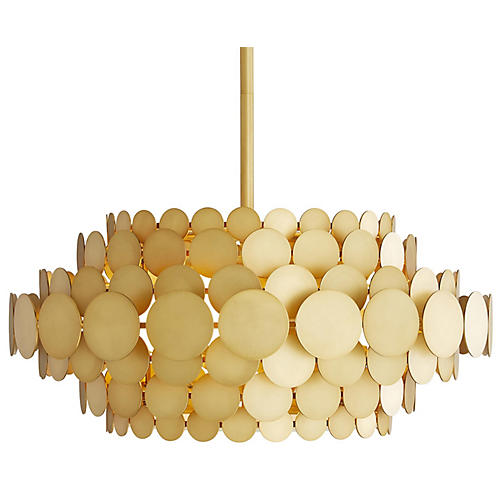 Calliope Chandelier, Frosted/Antiqued Brass