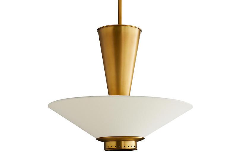 Tavoli Pendant, Antiqued Brass/Off-White