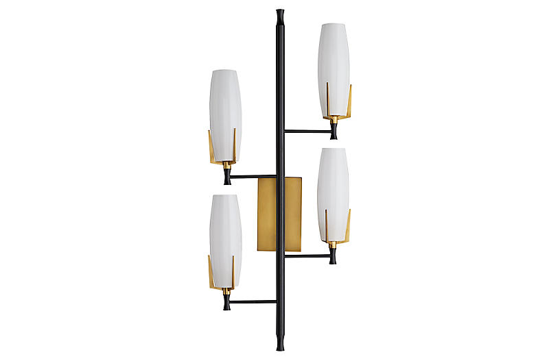 Keifer Right Sconce, Antique Brass/Opal White