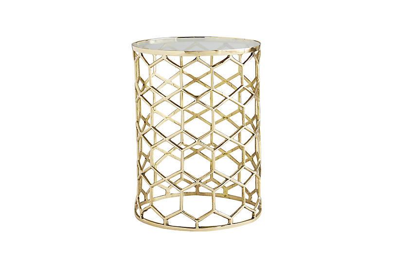 Thursbey Accent Table, Polished Brass