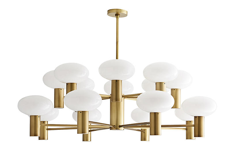 Bentley Chandelier, Antiqued Brass