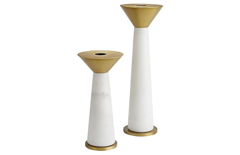 S/2 Tenbrooke Candleholder, White/Gold