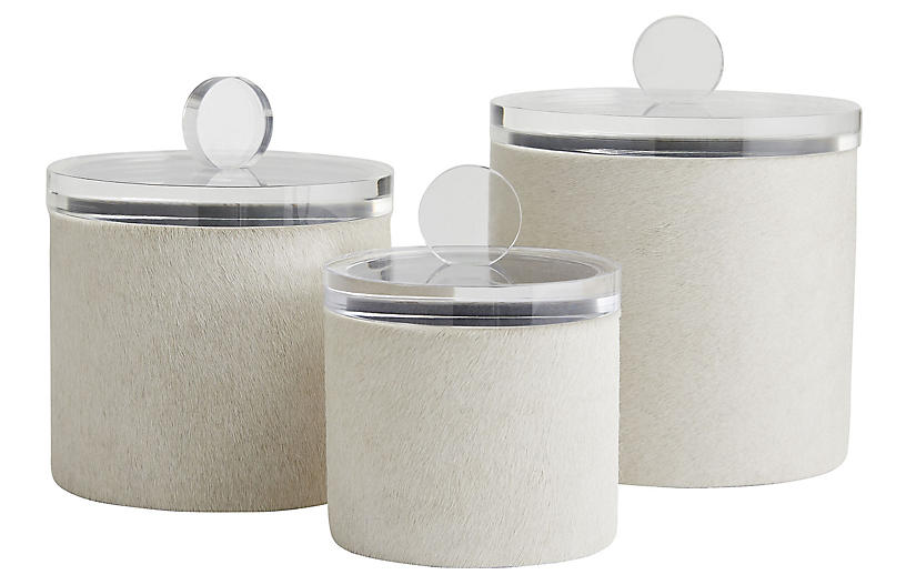 S/3 Dora Container, Beige/Clear