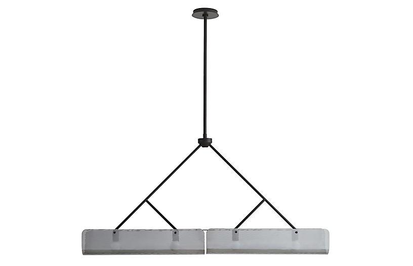 Bend Linear Chandelier, Black/Smoke