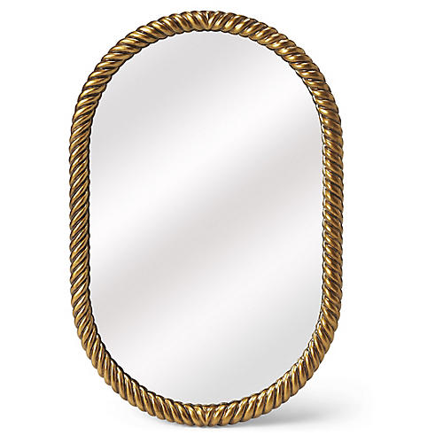 Serena Oval Wall Mirror, Gold