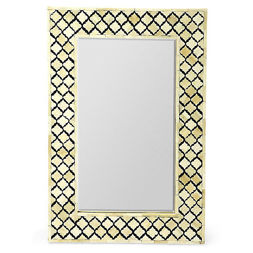 Mardell Bone-Inlay Wall Mirror, Black/Ivory