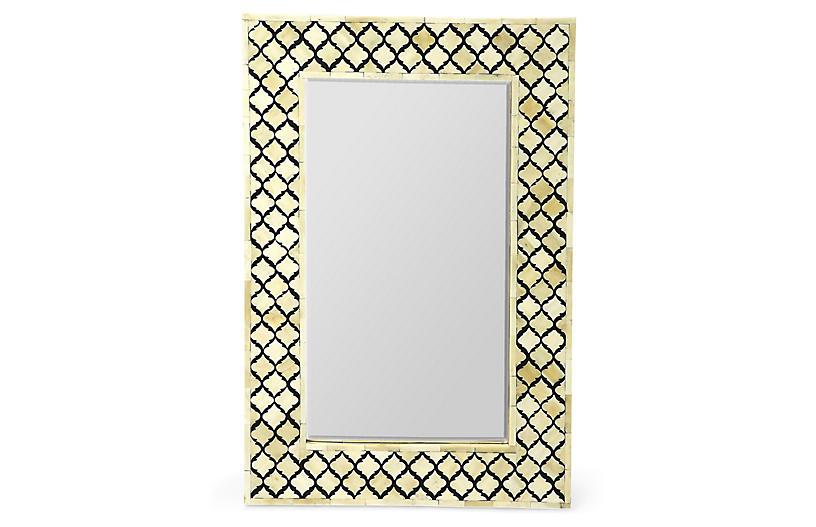 Mardell Bone-Inlay Wall Mirror, Black/Ivory