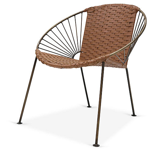 Ixtapa J Lounge Chair, Brass/Camel Brown Leather
