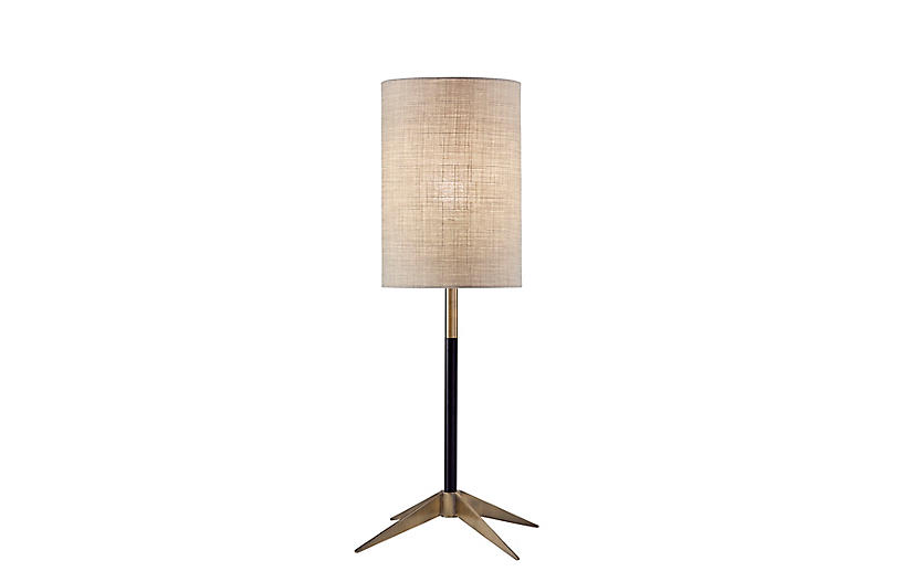 Max Table Lamp, Black/Antique Brass