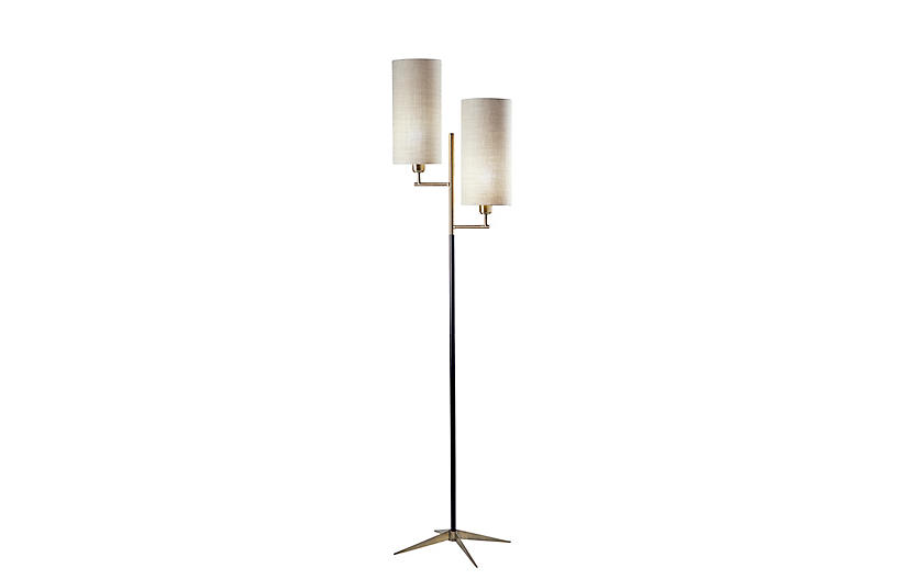 Orion Floor Lamp, Matte Black/Brass