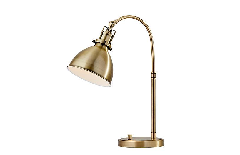 Silas Desk Lamp, Antique Brass