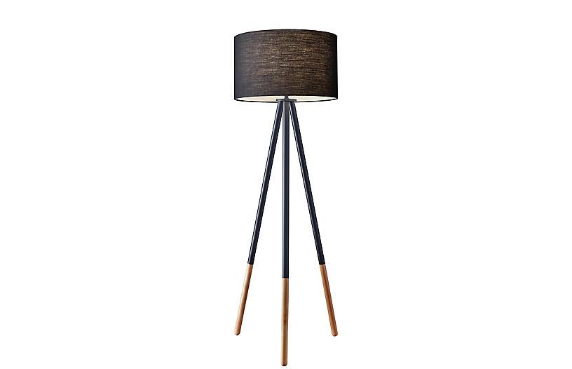 Louanne Tripod Floor Lamp, Black